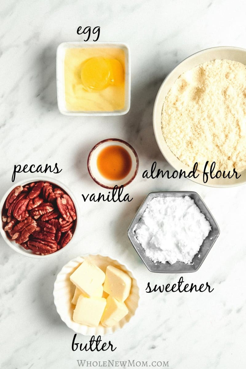 ingredients for low-carb snowball cookies mise en place