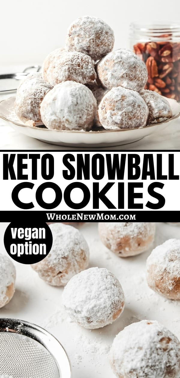 keto snowball cookies on a white plate and on white table