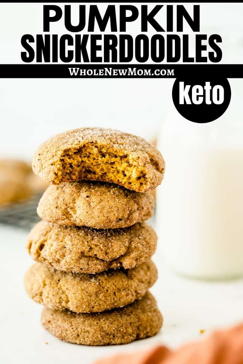 pumpkin snickerdoodle cookies in a stack with cooling rack and jar or milk in background