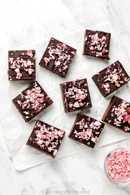 sugar-free peppermint fudge cut in pieces on white parchment paper