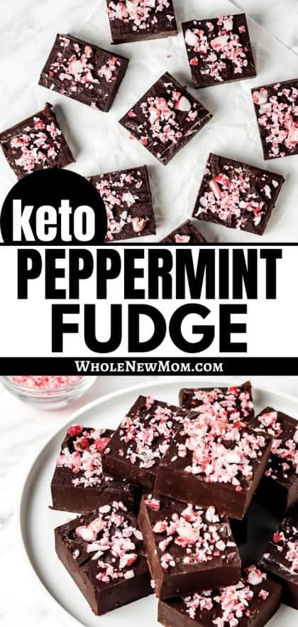 collage of sugar-free peppermint fudge on white plate and white parchment paper