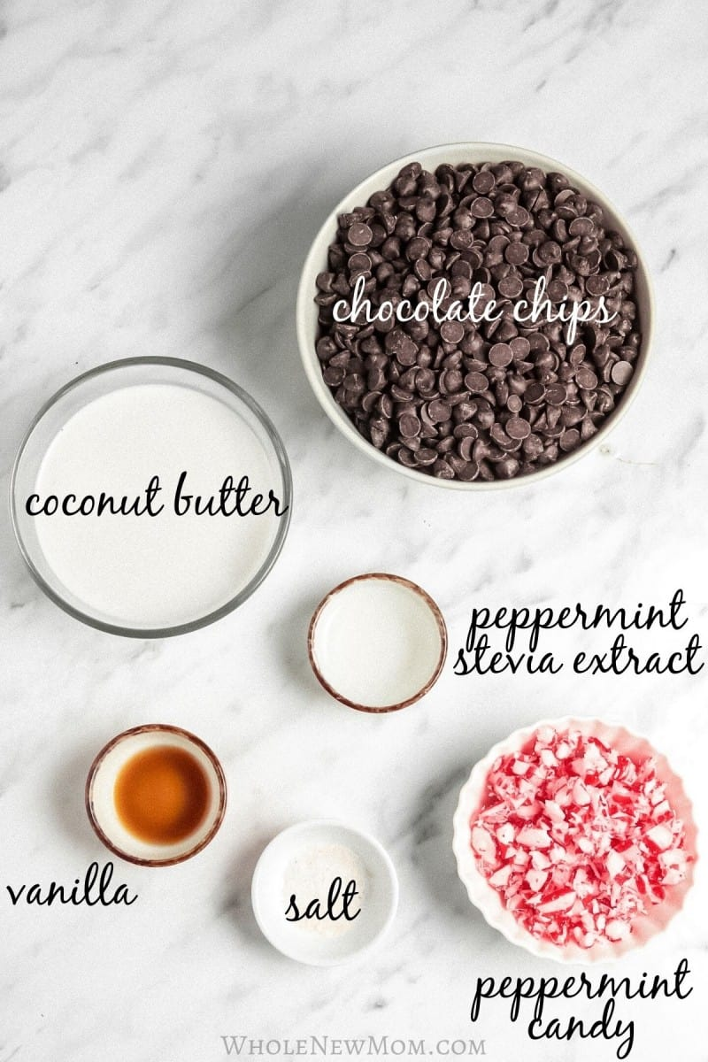 ingredients for sugar-free peppermint fudge on marble tabletop