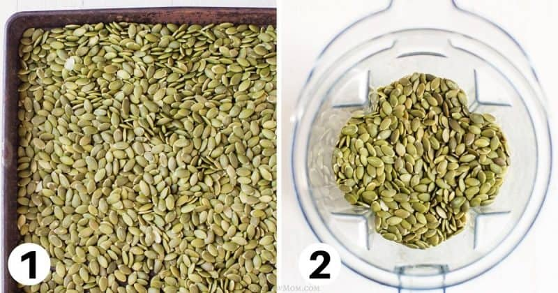 collage of photos of pumpkin seeds on baking tray and in vitamix container