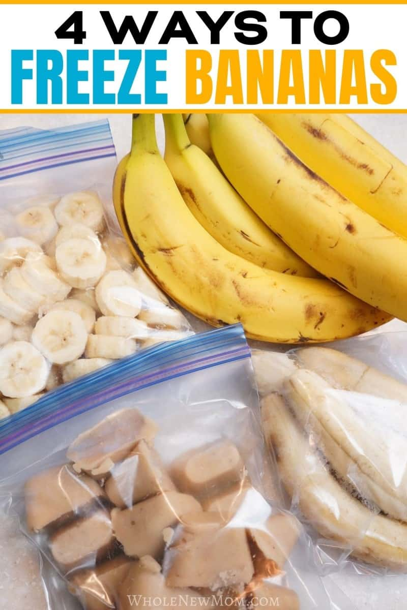 pinterest image of bananas frozen in cubes, sliced, and whole for post about How to Freeze Bananas