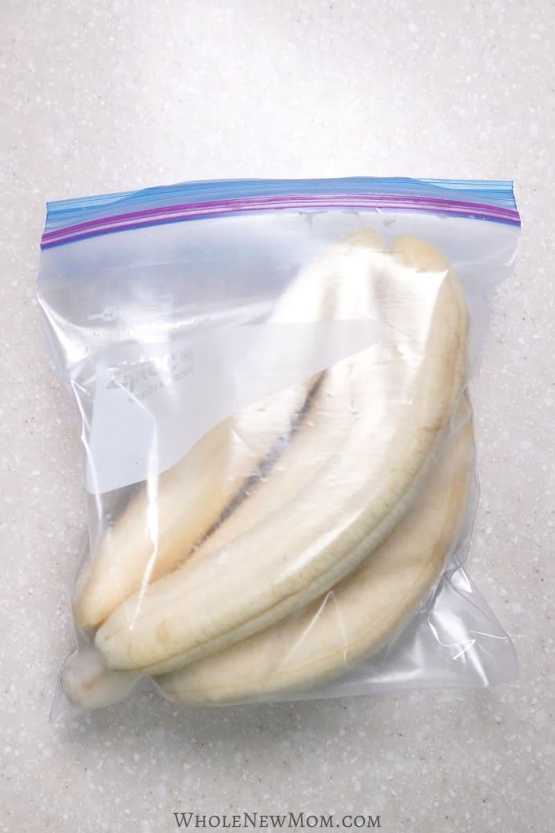 frozen whole bananas in a freezer bag