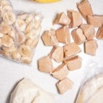 bananas frozen in cubes, pureed in bag, whole in bag, and sliced in bag
