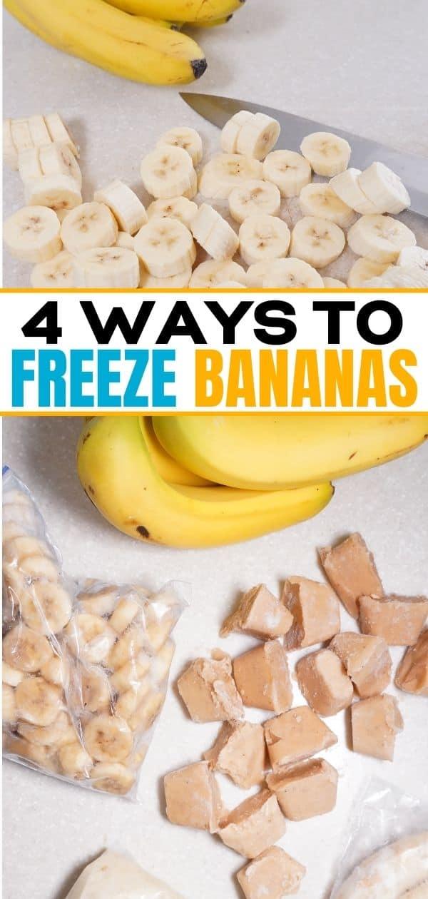 pinterest collage of slicing bananas, banana puree cubes, frozen sliced bananas and frozen banana puree.