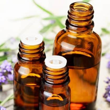 essential oils in 3 small amber bottles