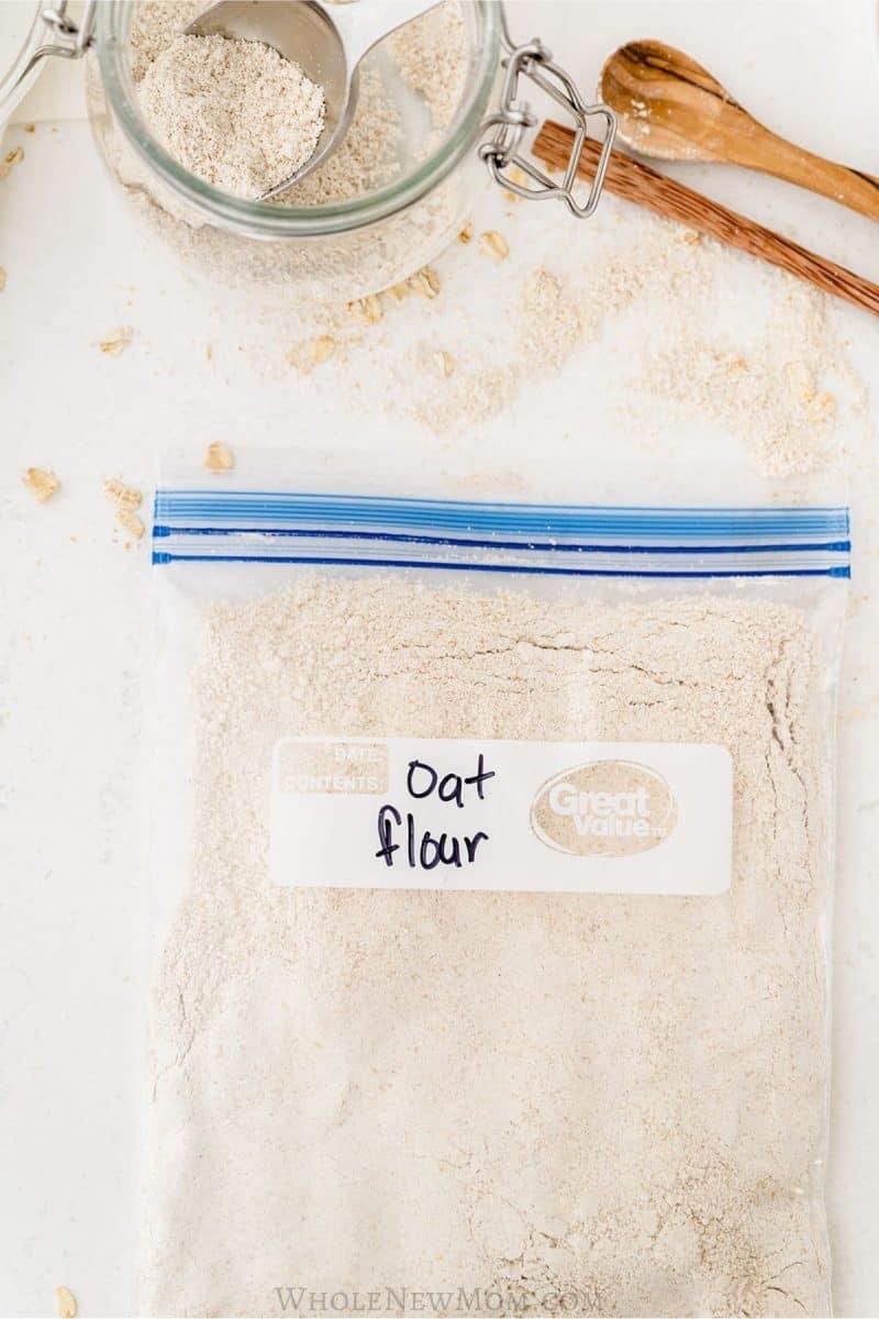 homemade oat flour in a zippered plastic bag