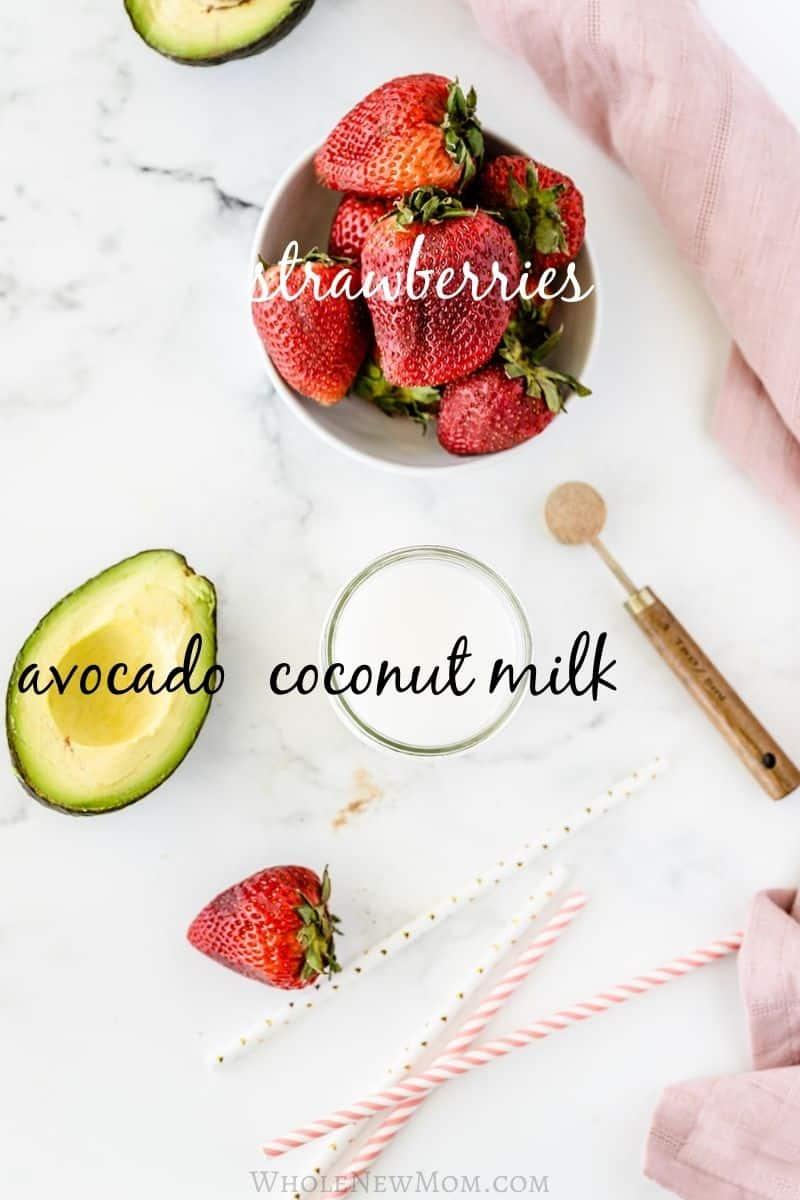 Ingredients for strawberry avocado smoothie