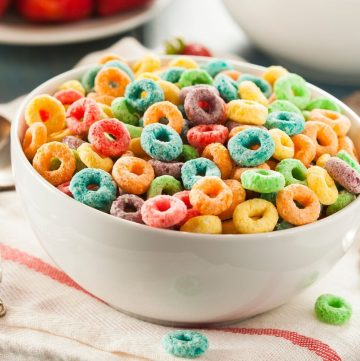 bowl of colored fruity cereal