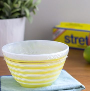 bowl covered with plastic wrap to create a fruit fly trap