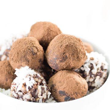 chocolate avocado truffles in a bowl