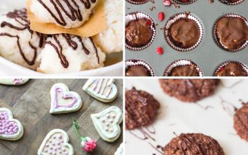 collage of four different treats for valentine's day