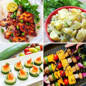 collage of four different healthy recipes for fourth of july