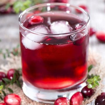 cranberry juice in a glass cup