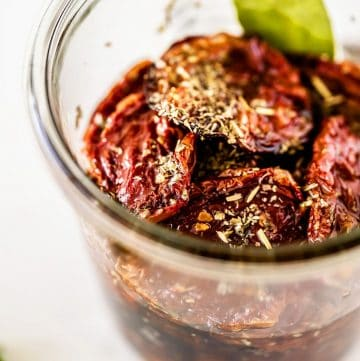 sun dried tomatoes in a glass jar