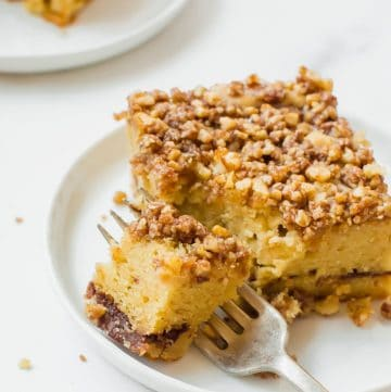 slice of coffee cake on a plate with fork