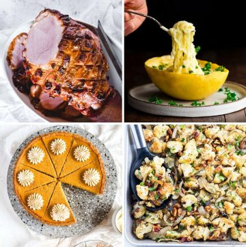 collage of four different recipes for thanksgiving