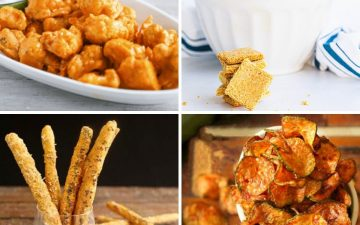 collage of four different low carb snacks