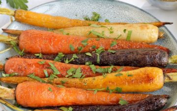 rainbow carrots garnished with parsley