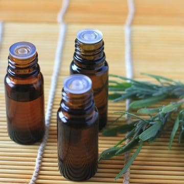 small amber bottles filled with essential oil blends