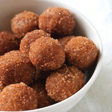 cookie dough balls in a white bowl