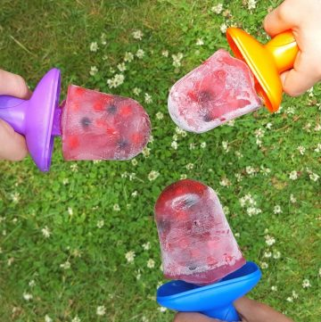 three berry popsicles in colorful molds