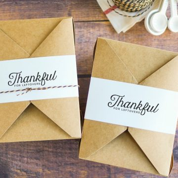 two boxes with thankful for leftovers tag