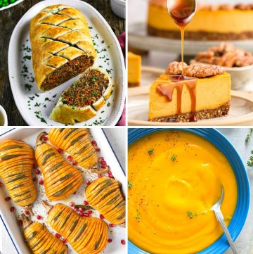 collage of four vegan recipes for thanksgiving