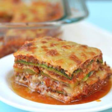 slice of zucchini lasagna on a white plate