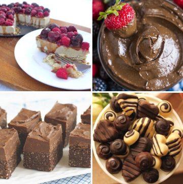 collage of four 32 grain-free Valentine's desserts