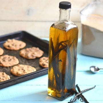 vanilla extract in glass bottle