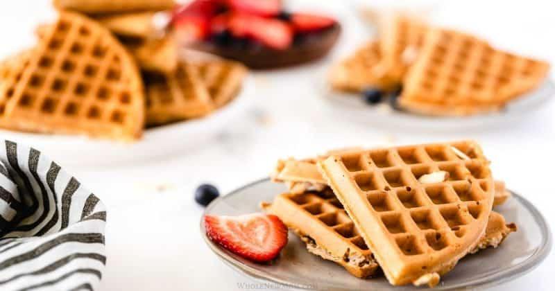 buckwheat waffles on plate