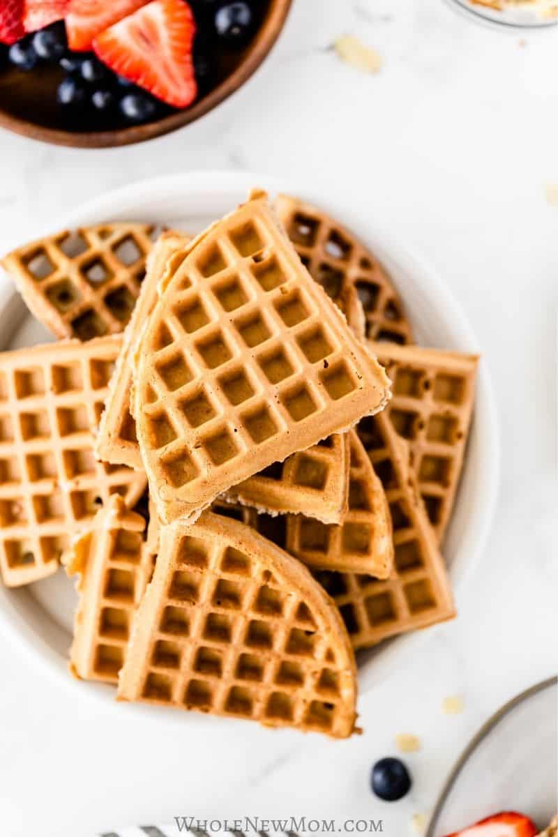 plate of gluten-free vegan waffles
