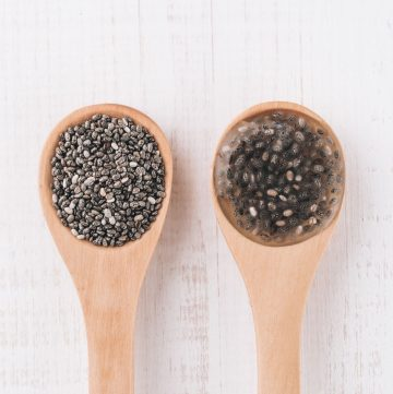 wooden spoons with chia seeds and chia egg