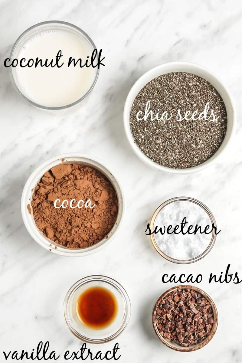 ingredients for chocolate chia pudding