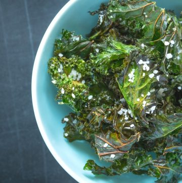 crunchy kale chips in a bowl