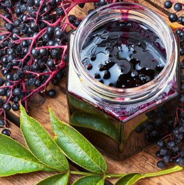 elderberry jam in a glass jar and elderberries on the side