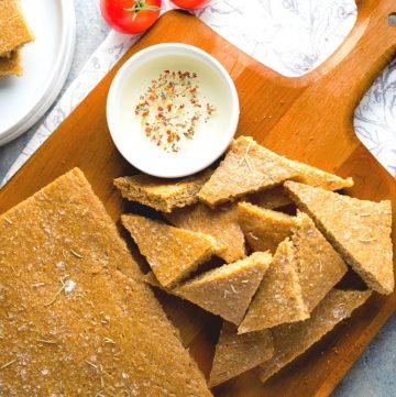 focaccia flax bread on a wooden board