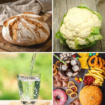 collage of four foods that are bad for your thyroid