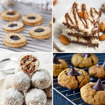 collage of four different gluten free Christmas cookies