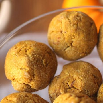 pumpkin cookies in a clear glass bowl