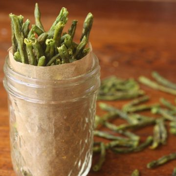 green bean chips in a glass
