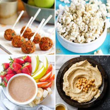 collage of four healthy super bowl recipes