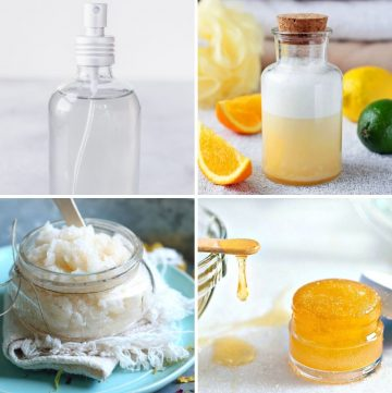collage of homemade lip and body scrub, hairspray and body wash