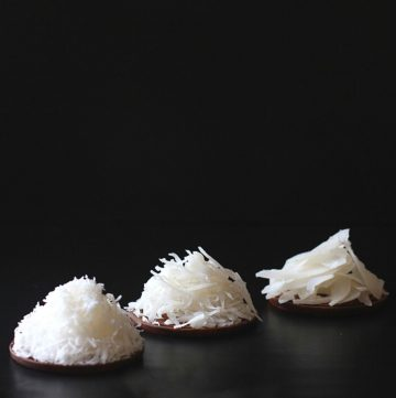 three coconut shreds in a row