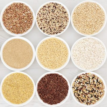 bowls of different grains