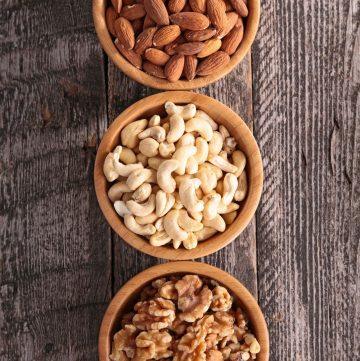 bowls of different nuts