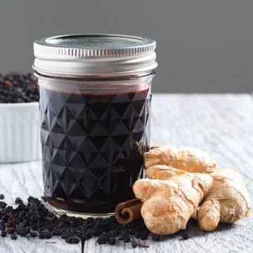 elderberry syrup in mason glass jar